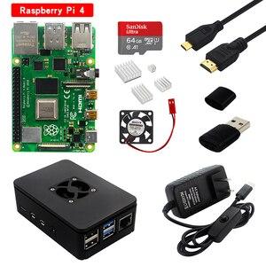 Image 1 - Raspberry pi 4 modelo b kit 2gb/4gb placa ram + dissipador de calor caso 32/64 cartão sd cabo hdmi fonte de alimentação para raspberry pi 4b