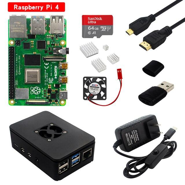 Raspberry pi 4 modelo b kit 2gb/4gb placa ram + dissipador de calor caso 32/64 cartão sd cabo hdmi fonte de alimentação para raspberry pi 4b