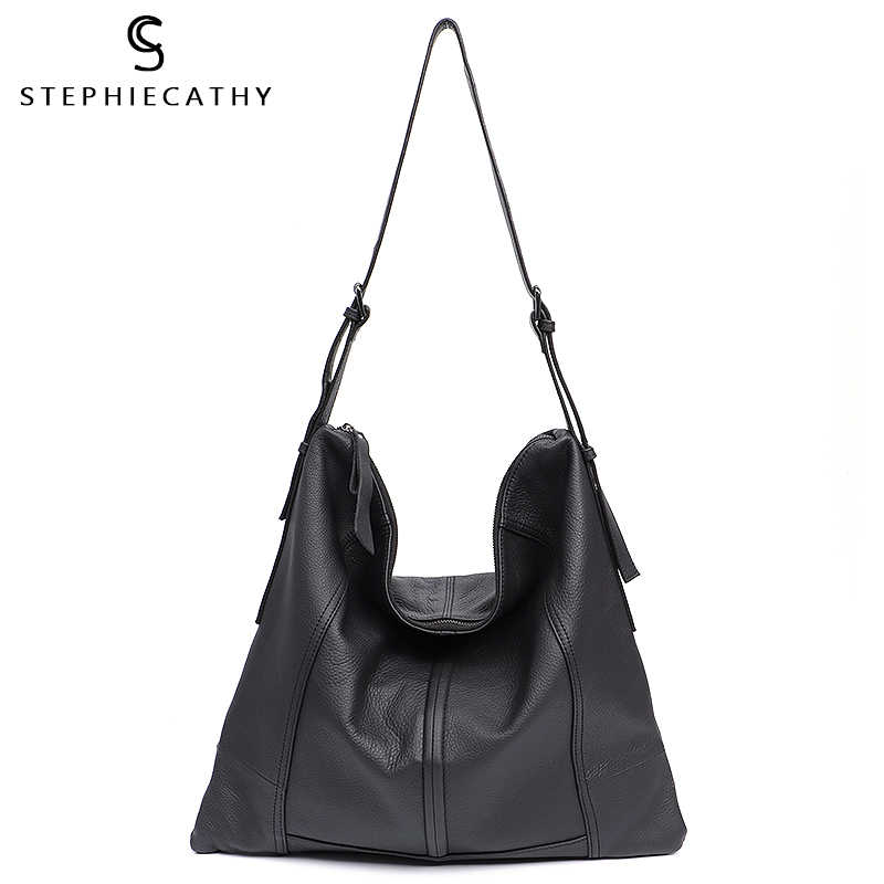 SC Brand Fashion Women Handbags Genuine Leather Bags Soft Shoulder Bags Large Capacity Flat Casual Hobo Crossbody Messenger Bags