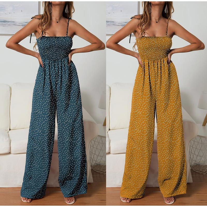 Women Polka Dot Jumpsuit High Waist Rompers Boho Yellow Spaghetti Strap Top Wide Leg Pants Female Summer 2019 Jumpsuits Ladies