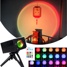 Fast shipping Led Night Light USB Rainbow Projector Sunset Lamp For Coffee Shop Bar Decoration Lamp Bedroom Atmosphere Lamp Gift