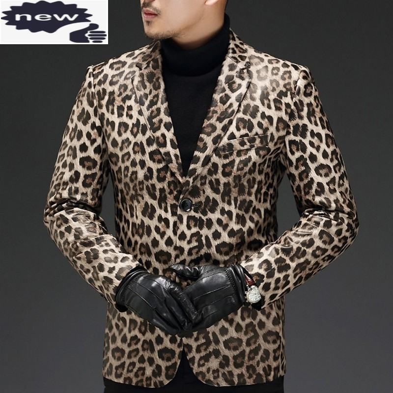 Blazers Slim-Fit Long-Sleeve Punk-Style Male Single-Breasted Genuine-Leather Mens Plus-Size
