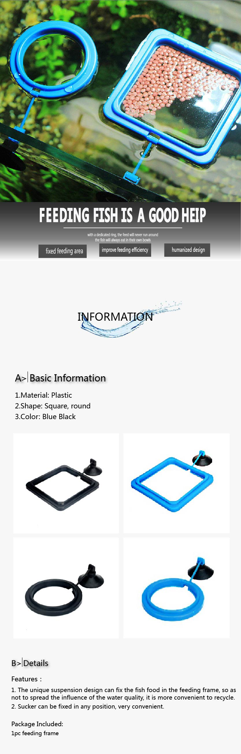 New Aquarium Feeding Ring Fish Tank Station Floating Food Tray Feeder Square Circle Accessory Water Plant Buoyancy Suction Cup 2 7