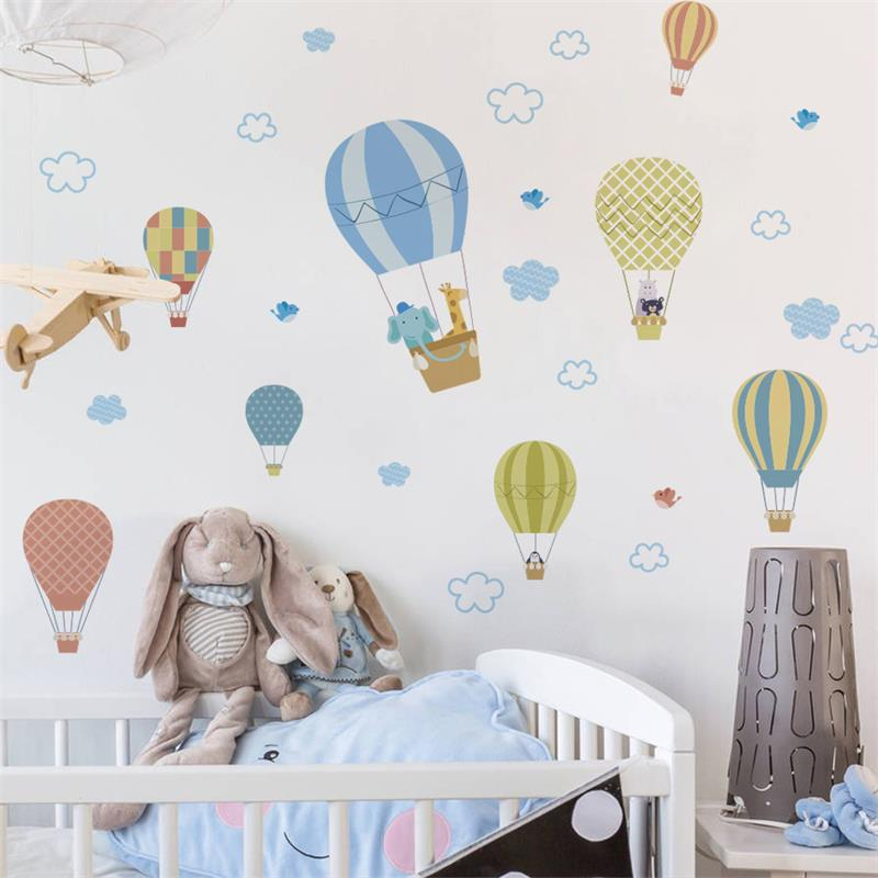 YOUKER Cartoon Cute Little Animal White Cloud Hot Air Balloon Baby Bedroom Children's Room Decorative Wall Stickers