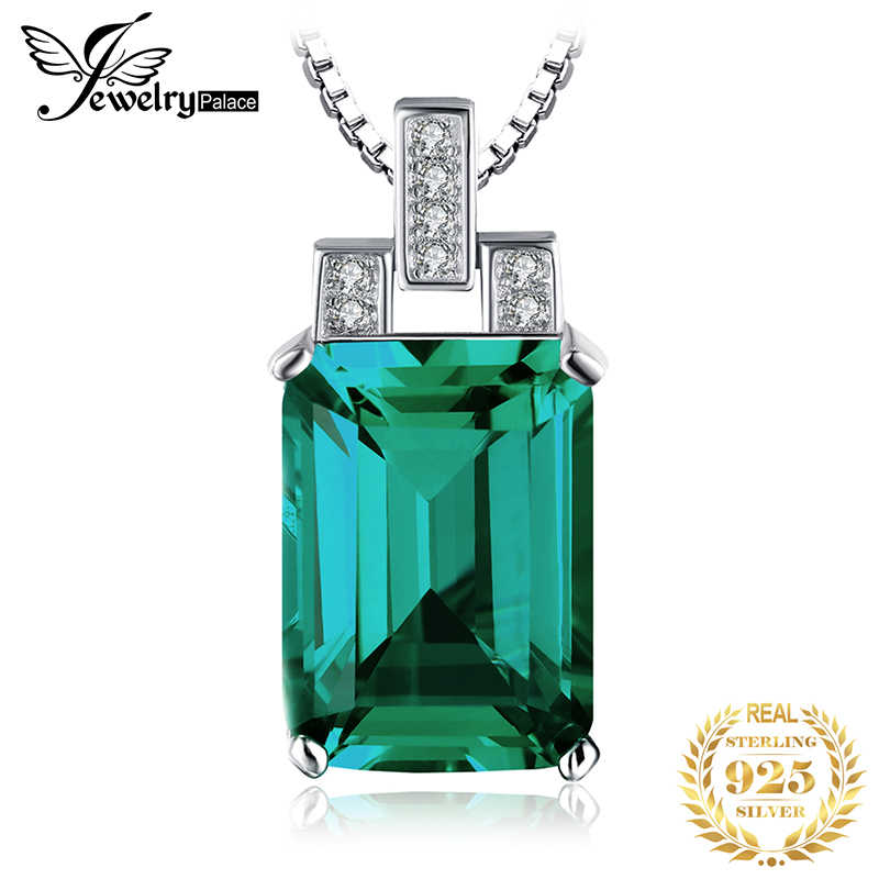 Jpalace 6ct Simulated Nano Emerald Pendant Necklace 925 Sterling Silver Gemstones Choker Statement Necklace Women Without Chain