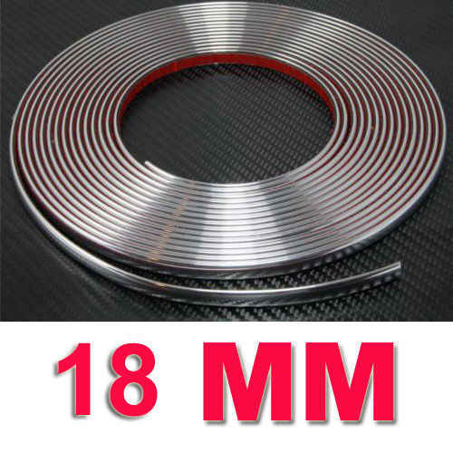 18 Mm/0.71 Inci Lebar Moulding Trim Strip Chrome Moulding Trim Strip Besar Diri Perekat 18 Mm X 15 M 285G PVC Lembut