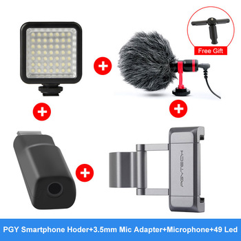 Optional 3.5mm Mic Adapter PGYTECH Smartphone Mount Cold Shoe Mount 49 LED Light Microphone For DJI OSMO Pocket Accessories