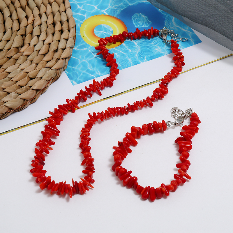 Vintage Irregular Coral Jewelry Sets Chocker Necklace Bracelet String Bracelet Wedding Bridal Jewelry Set