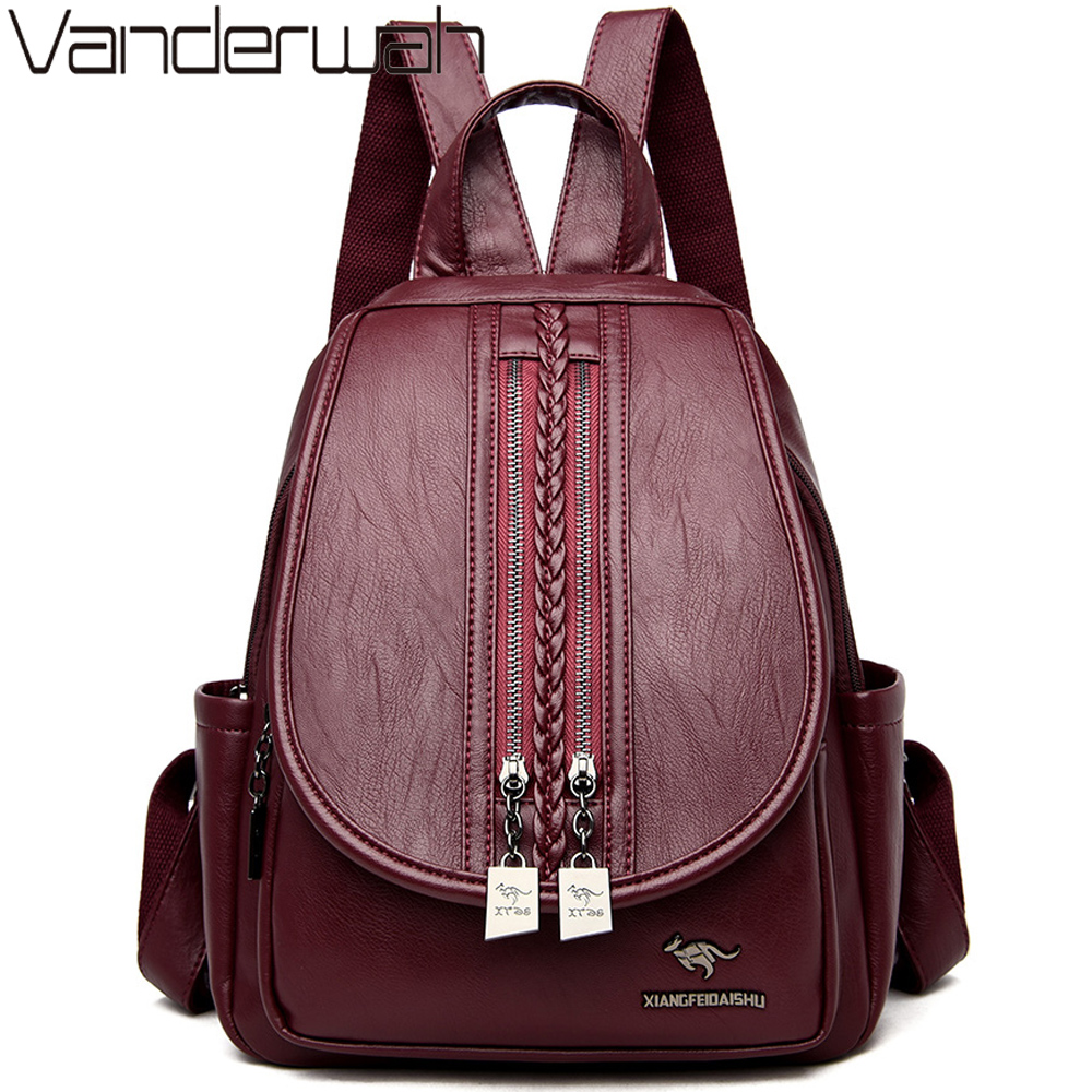 New Fashion Women Backpack Double Zipper Female Sheepskin Leather Backpack Ladies Travel Back Pack Shoulder Bag Sac A Dos Femme