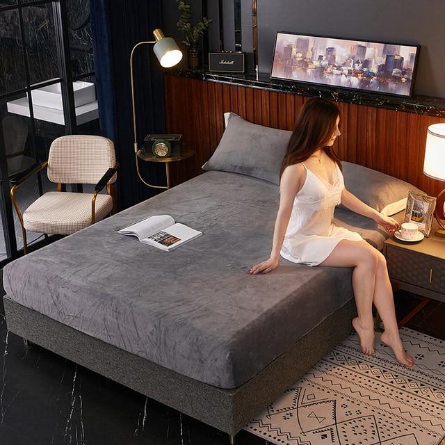 Solid color Flannel Bed Sheet Plush Fitted Sheet Elastic Velvet Bed Linen Mattress Cover Queen King Size bedding set Bedspread