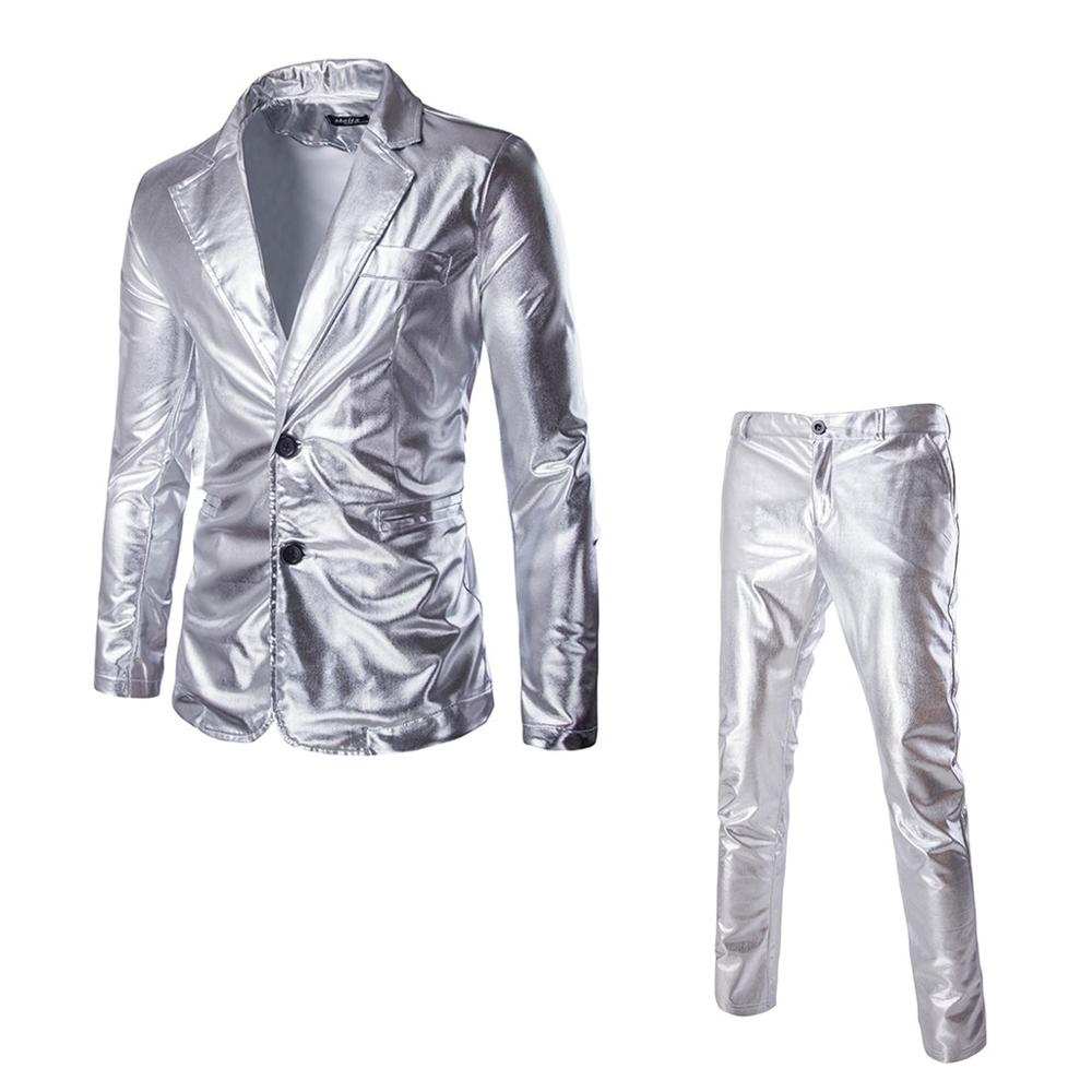 2 Piece Male Classic Party Bright Surface Suits Custom Plus Size Men's Slim Fit Wedding Suits Sliver Coat For 2019 New Fashion