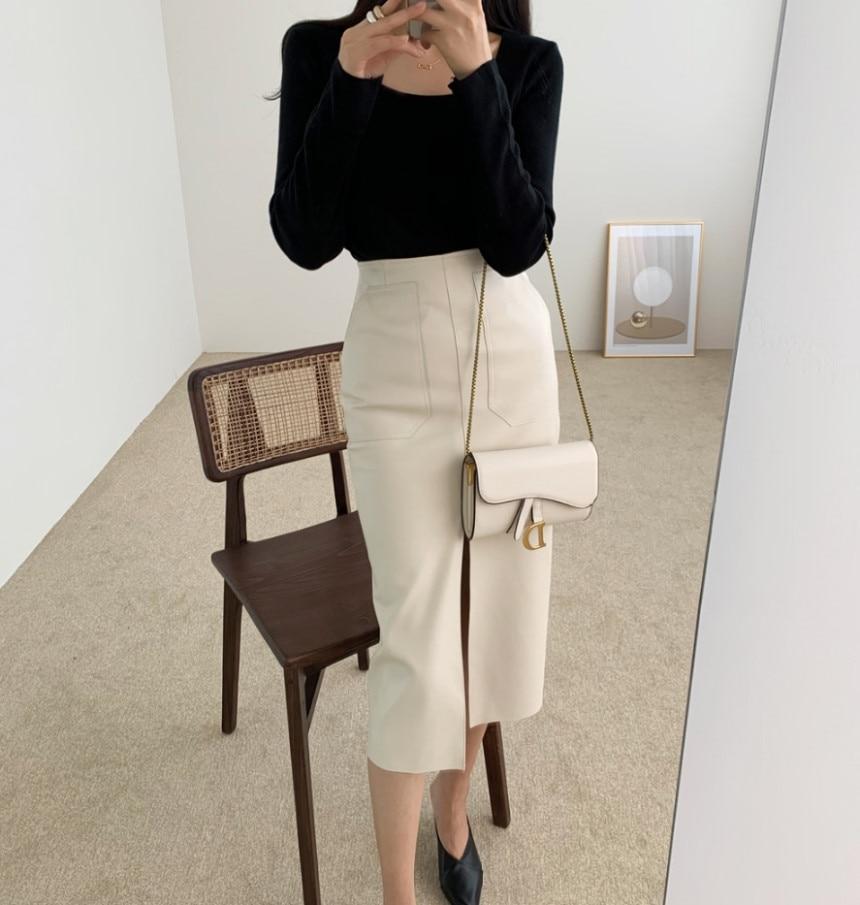 New 2020 Spring Women PU Leather Skirts High Waist Office Lady Female Midi Skirts