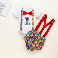 boys clothes new year clothes My First New year girl boy clothes Infant Newborn Baby 1 birthday letter Bow Tie+belt pants outfit cheap Fashion O-Neck Sets COTTON Short REGULAR Fits true to size take your normal size Coat Print Children baby clothes girl