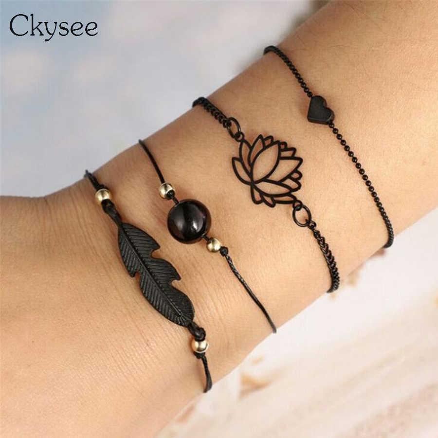 Powłoki z piór bransoletka bransoletka księżyc Five Star oczy Mix Charm bransoletki dla kobiet Boho Tassel koralik bransoletka biżuteria hurtowych