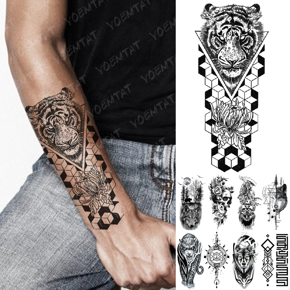 Waterproof Temporary Tattoo Sticker Geometric Tiger Wolf Death Flash Tattoos Leopard Totem Body Art Arm Fake Tatoo Women Men