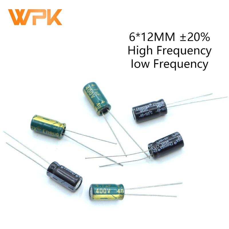 20 piezas 6*12 alta frecuencia de baja ESR condensador electrolítico de aluminio conjunto de 10V 63V 100V 250V 400V 4,7 UF 2,2 UF 470UF 1UF Kit surtido