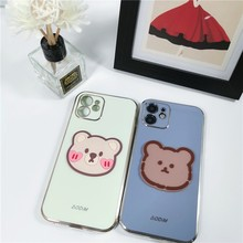 Cute Silicone Patch Bear Girl Soft Case For Iphone 11 12 Pro Max Mini 7 8 Plus Xr X Xs Max Se 2020 Silicone Phone Cover Fundas