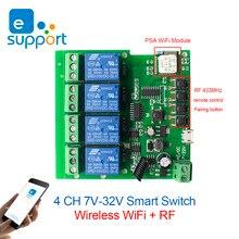 eWeLink Smart Remote Control wireless Wifi Switch Module 4CH DC 7-32V 12V 24V RF Receiver