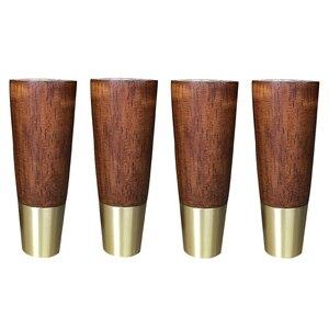 Image 1 - 4 adet doğal ahşap mobilya ayakları katı kauçuk ahşap masa dolap ayakları ayakları demir plaka vidaları