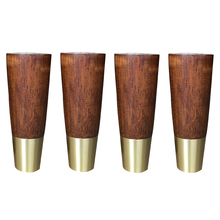 4PCS Natural Wood Furniture Legs Solid Rubber Wood Table Cabinet Feet  Legs Iron Plate Screws