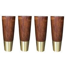 Pieds de meubles en bois naturel, 4 pièces, caoutchouc massif, armoire, pieds de plaque en fer, vis