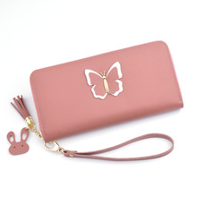 New Hand Wallet Ladies Long Section 2019 Korean Version Of The Fashion Butterfly Purse Zipper Tassel Large Capacity