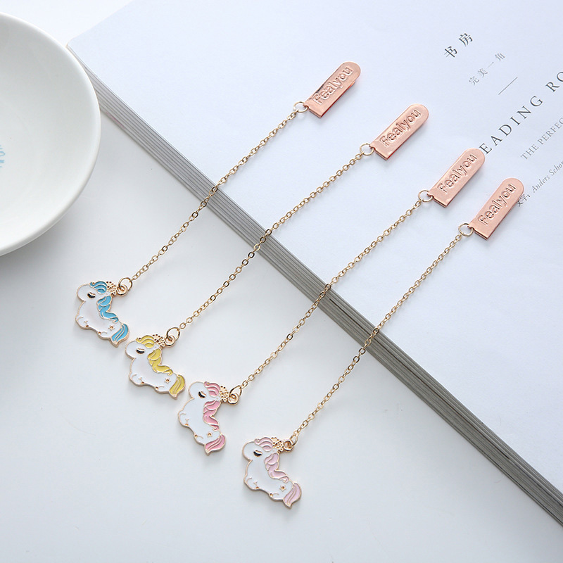 Cute Unicorn Bookmarks Creative Metallic Pendant Book Mark For Book Kids Girls Gift School Office Supplies Korean Stationery