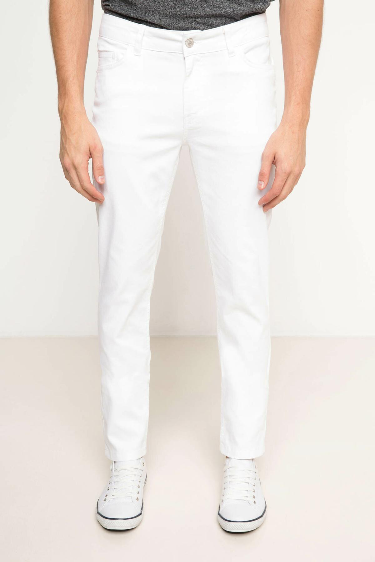 DeFacto Man White Long Pants Slim Casual Autumn Spring Wear Long Trousers-H4269AZ17SM