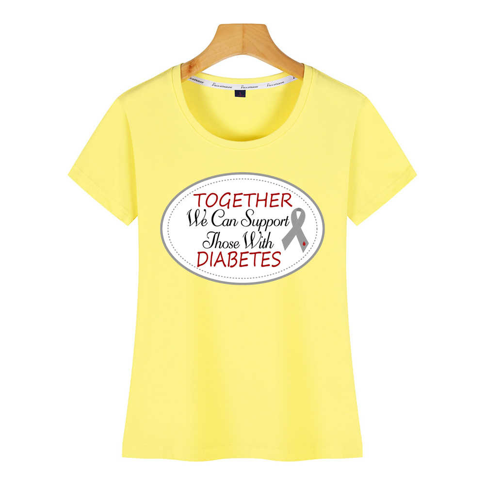 トップス tシャツ女性糖尿病サポート糖尿病教育リボン夏原宿ショート女性 tシャツ
