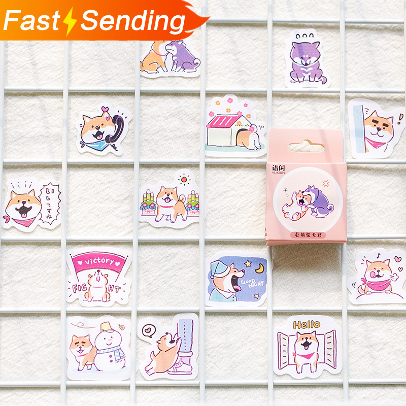 50 Sheets Cute Box Sticker Cartoon Notebook Stickers DIY Decor Bullet Journal Supplies School Korean Stationery