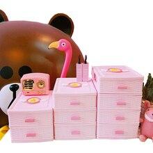 Pink Cartoon Girl Cosmetic Storage Box Dressing Table Desktop Jewelry Lipstick Makeup Organizer Drawer Sundries Container