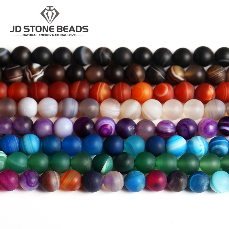 Free Gifts Frost Strip Agate Beads 4-12MM Personalized Fashion Matte Hand-made Bracelet Ornament Accessory For Jewelry Making