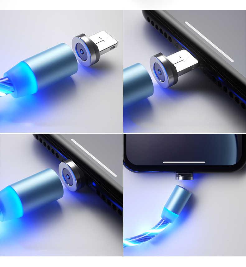 1 M SạC Từ Điện Thoại Di Động Cáp USB Loại C Lưu Lượng Ánh Sáng Dạ Quang Dây Dữ Liệu Samsung Huawei Led Micro kable