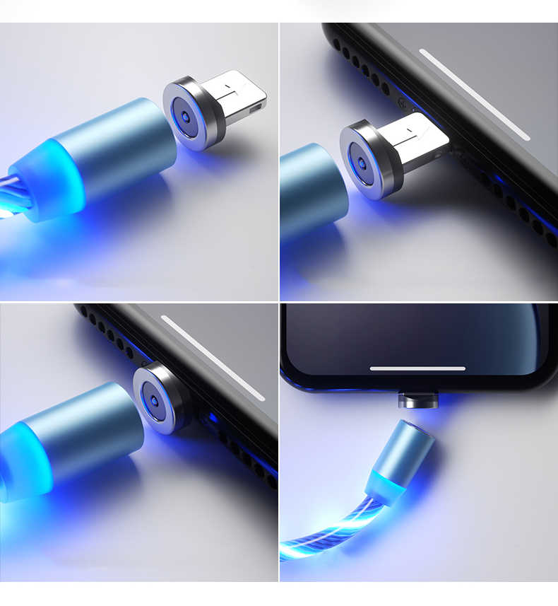 1m di ricarica Magnetico Del Telefono Mobile Cavo USB Tipo C Flusso Luminoso di Illuminazione Filo di Dati per Samsung Huawei LED Micro kable