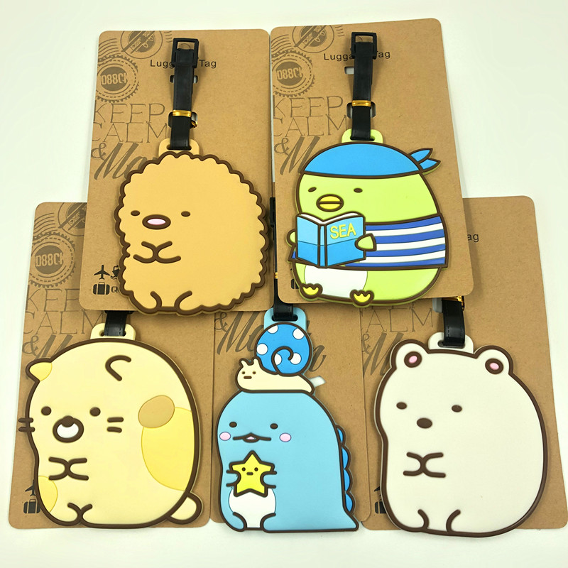 IVYYE Sumikko Gurashi Anime Travel Accessories Luggage Tag Suitcase ID Address Portable Tags Baggage Labels Gift New