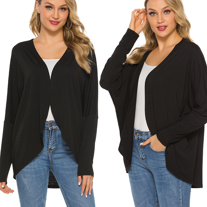 Autumn Cardigan For Women Thin Jacket Women's Long Sleeve Drop Shoulder Slip Irregular Hem Fashion Casual Lightweight Loose Top