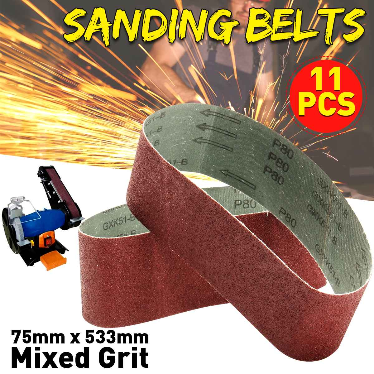 11Pcs 21 x <font><b>3</b></font> Inch Sanding Belts 80 120 <font><b>150</b></font> Mixed Grit Alumina Sander File Set image