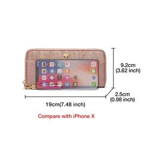 Image 4 - FOXER damski brokat skóra bydlęca długie portfele z nadgarstkiem luksusowa torebka damska Lady Clutch torba na telefon komórkowy fit Iphone 8 Plus