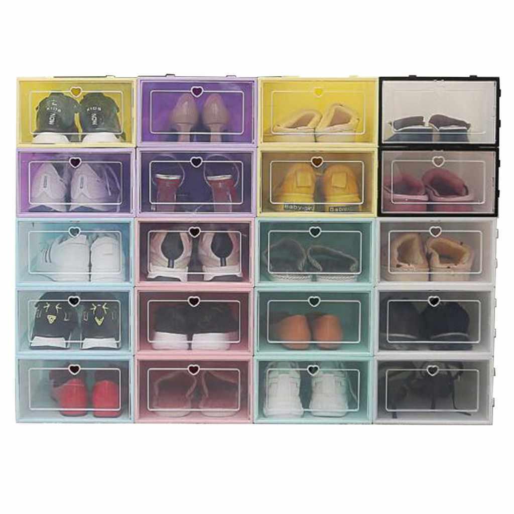 40 ^ 1PC składane przezroczyste buty schowek plastikowe stackowalne Organizer na obuwie stackowalne układanie oszczędność miejsca 2020 dropshipping