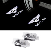 цена на 2Pcs No Drill LED Car Door Laser Projector Logo Ghost Shadow Welcome Light For Bentley