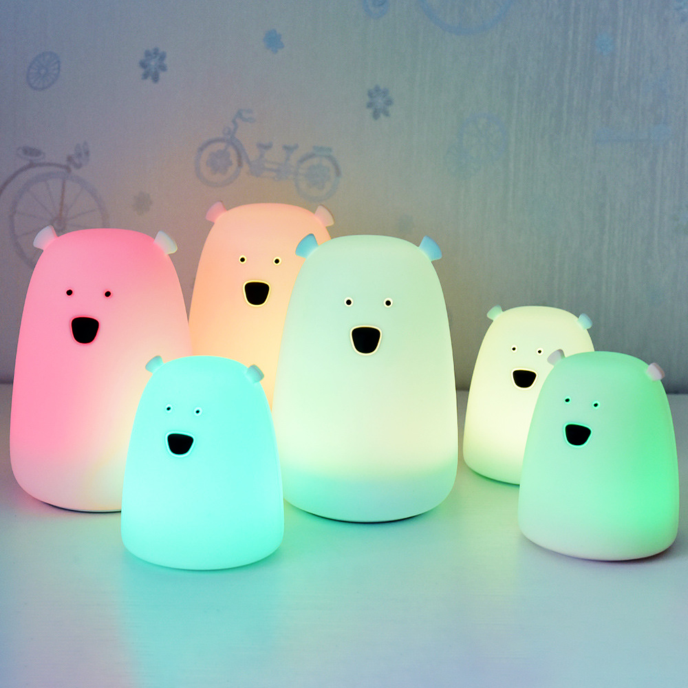 1PC Silicone Night Light Bedside Lamp Bear Color Light Children Cute Night Lamp Bedroom Kid Light Gift Pressure Reducing Toy
