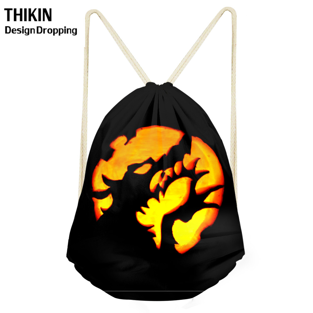 THIKIN 2019 Halloween Pumpkin Monster Travel Drawstring Bag Women Men Storage Package Teenagers Backpack Sac Summer Beach Bags