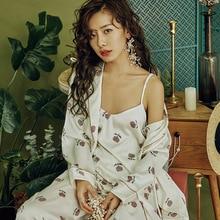 Silk Robe Set Satin Sexy Pajamas Set Women Sleepwear Floral Bathrobe 3 Pieces Leisure Sleep