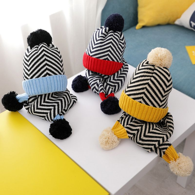 Kids Baby Crochet Knit Wavy Stripes Cuffed Beanie Hat Cute Pompom Long Scarf Set