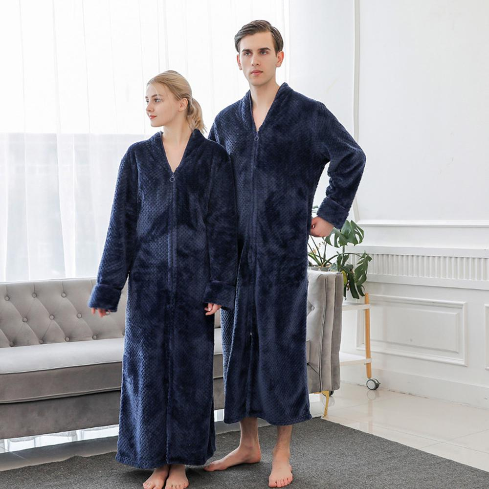 Pajamas Bathrobe Sleepwear Long-Nightgown Men's Thicken Winter Solid Long-Sleeved Hommbre