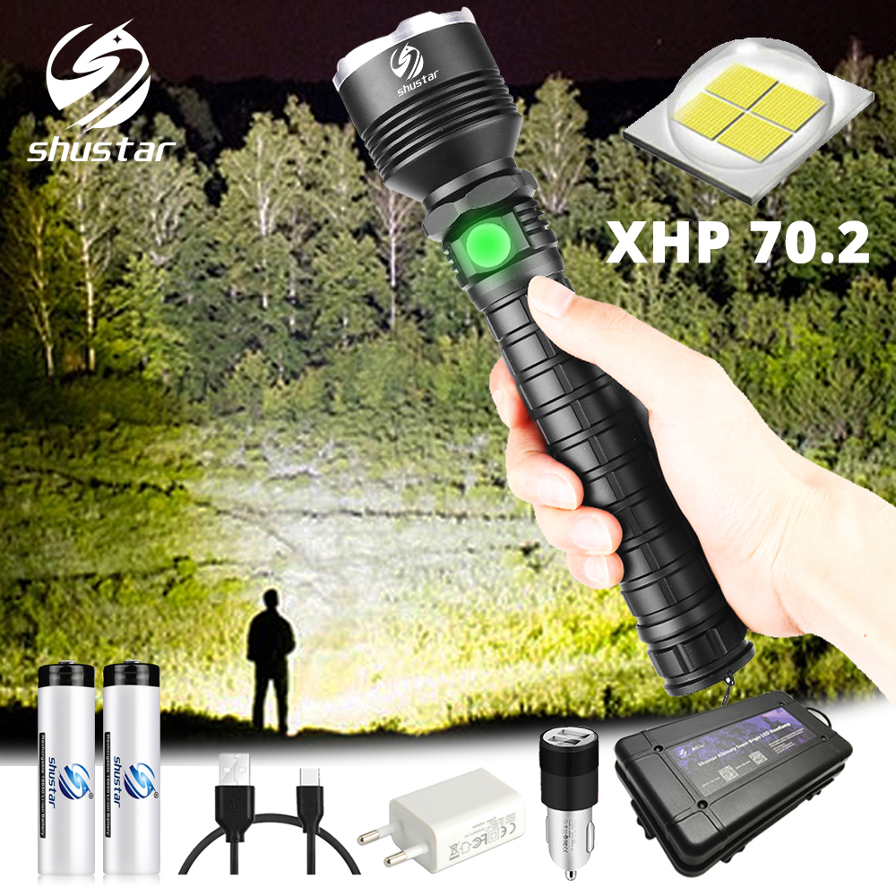 Powerful XHP70 LED Flashlight Waterproof LED Torch Support Zoom 5 Lighting Modes Powered By 18650 Or 26650 Battery For Outdoor