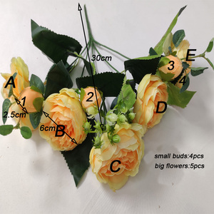 Image 5 - Artificial flowers for decoration Rose Peony Silk small bouquet flores party spring wedding decoration mariage fake Flower