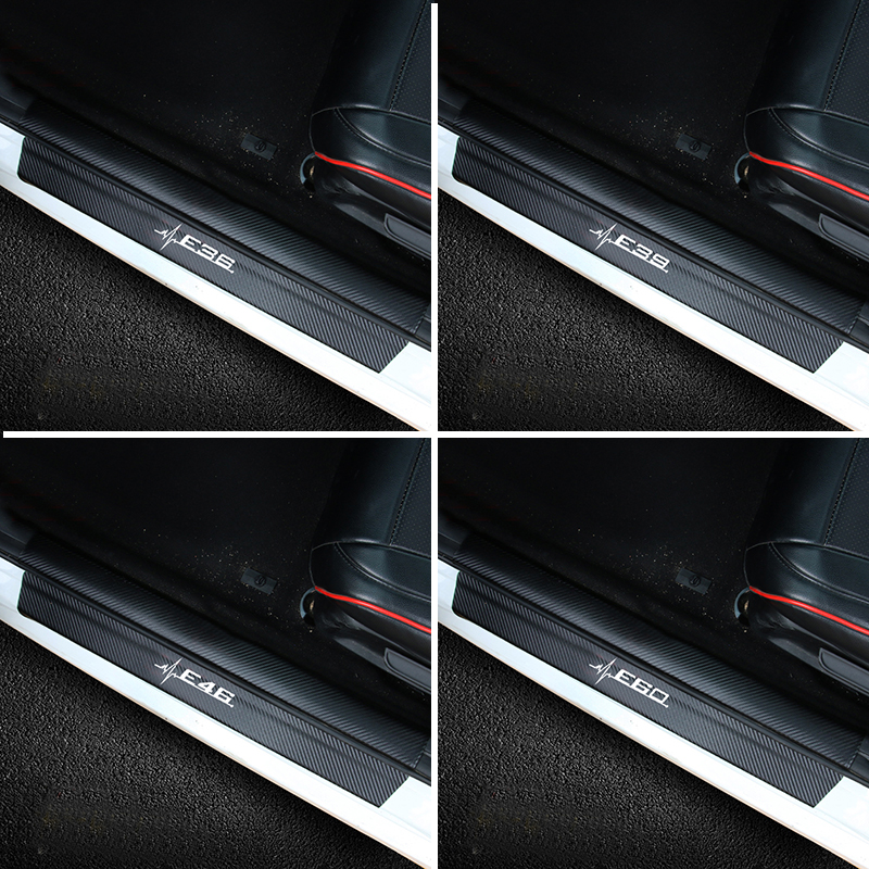 4pcs Door Sill Scuff Plate Guards Carbon Fiber Door Sills Protector Stickers For <font><b>BMW</b></font> E36 E39 E46 <font><b>E60</b></font> X1 X5 X6 <font><b>Car</b></font> Styling image