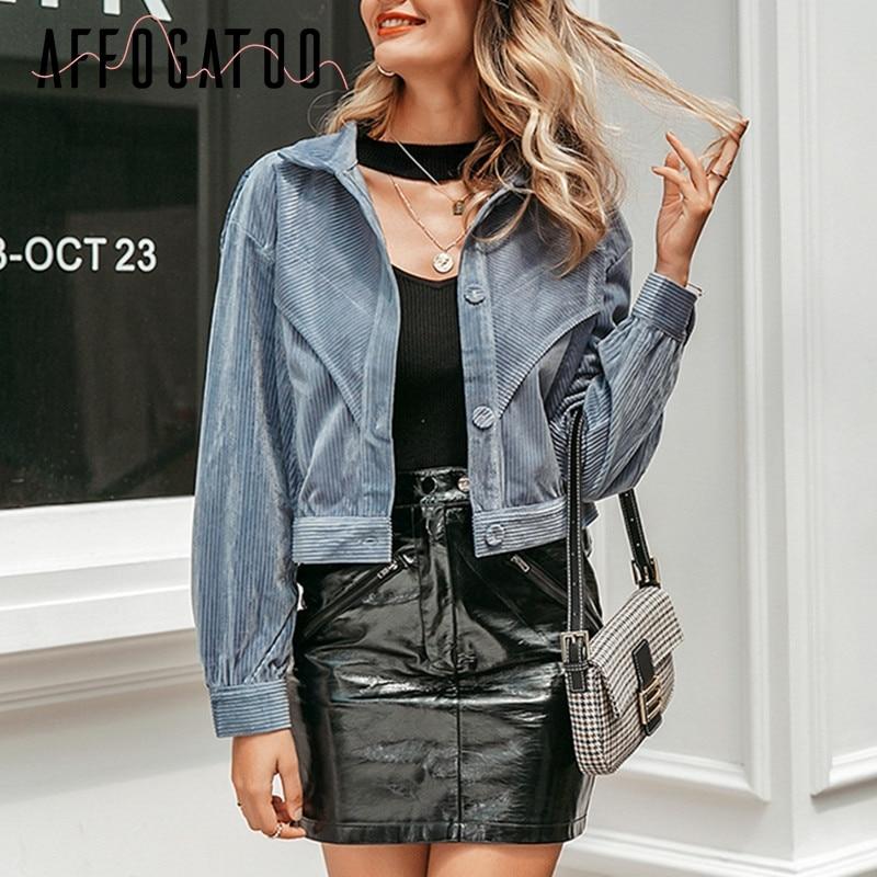 Affogatoo Casual streetwear corduroy short   jacket   women Fashion Long sleeve autumn winter female coat button ladies   basic     jacket