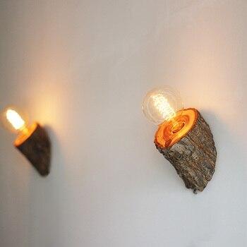 Creative Retro Reclaimed Elm Wood LED Bedside Lamp Bedroom Lamp Hotel Corridor Restaurant Hallway Wall Lamp Vintage european mediterranean tiffany retro pendant light hallway cozy creative lamp bar corridor
